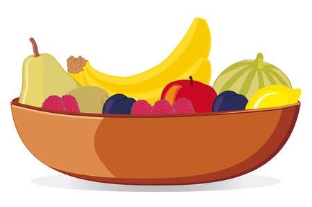 Kom met diverse vruchten vector