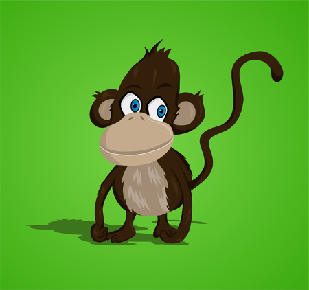 funny pictures: Lovely small monkey  vector   Illustration