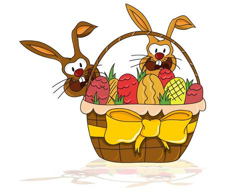 Easter illustration - two small bunnies behind a big basket with easter eggs  vector