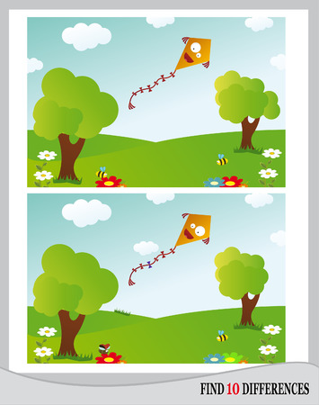 Find 10 Differences - Landscape with kite, meadow, trees, flowers and insect  vector