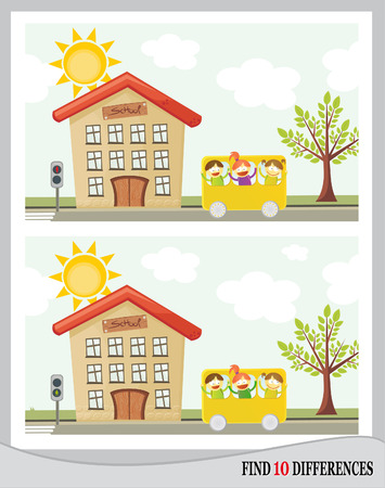 Find 10 differences - school and kids going by bus  vector