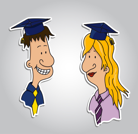 Two graduate students - as sticker  vector   Çizim