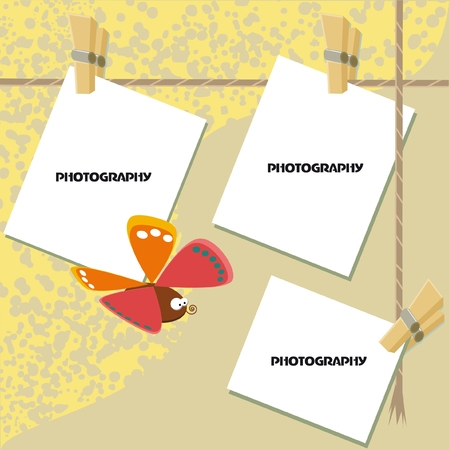 One list of scrapbook - three photos, design with butterfly  vector   Çizim