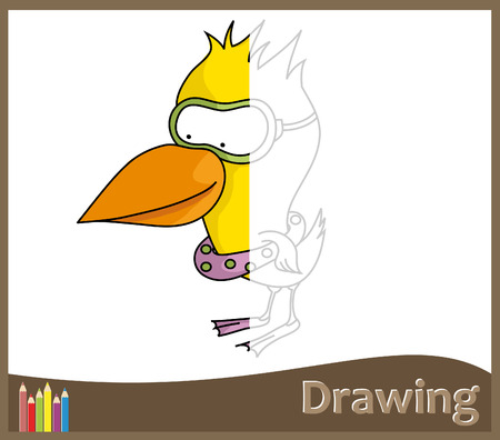 Game for children - draw a funny duck  vector   Illustration