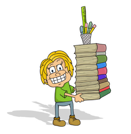 Cartoon student carrying many books and pen holder  vector   Çizim
