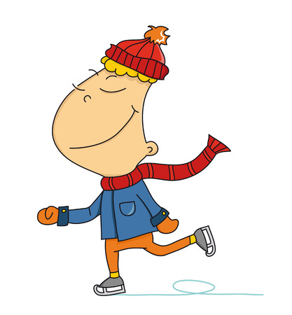 Cartoon dreamy ice skater  vector   Çizim
