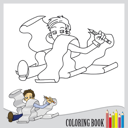 Coloring book - funny student  vector   Vector