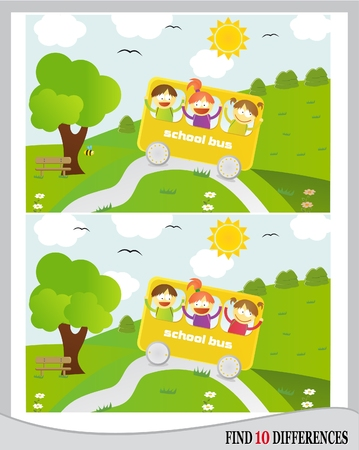 Find 10 differences - kids going in school bus in nature  vector