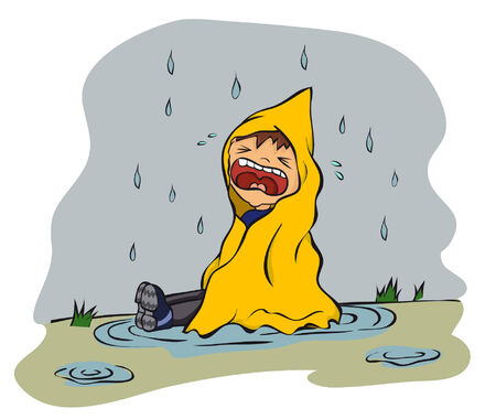 Cartoon unhappy boy sitting in puddle in raining  vector