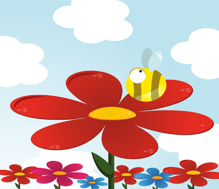 Funny bee on meadow  vector
