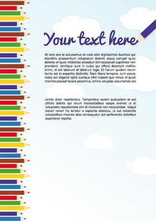 Illustration of many colored crayons and you text on sky  vector  Çizim