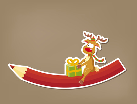 Cartoon christmas reindeer with present sitting on crayon (vector) Çizim