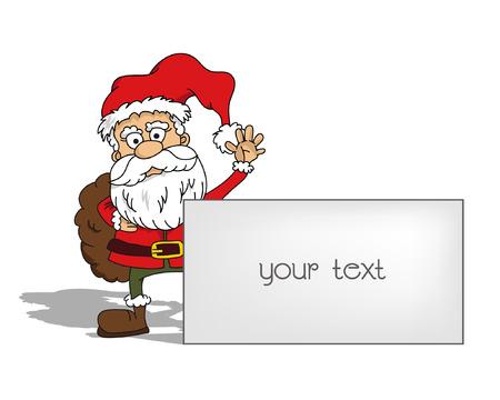 Cartoon waving santa claus with tag - your text (vector) Illustration