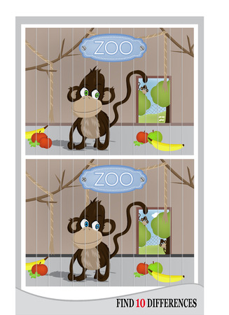 Find 10 differences - cute monkey in ZOO (vector)