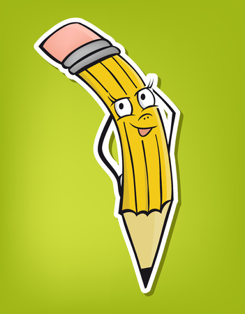 Cartoon standing pencil - cute illustration (vector) Çizim