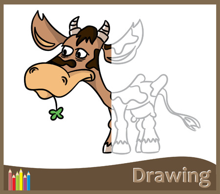 Game for children - Draw a funny cow (vector)