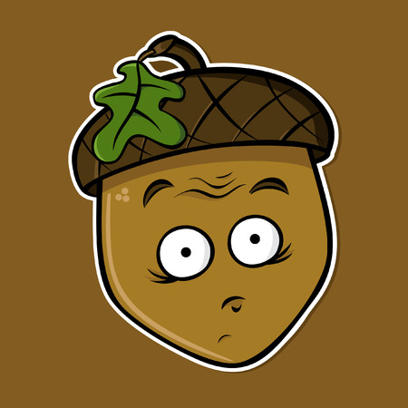 Cartoon isolated acorn - dumbfounded expression (vector) Çizim