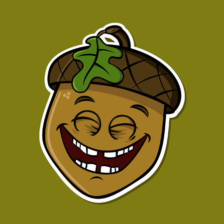 Cartoon funny isolated acorn - smilling (vector)