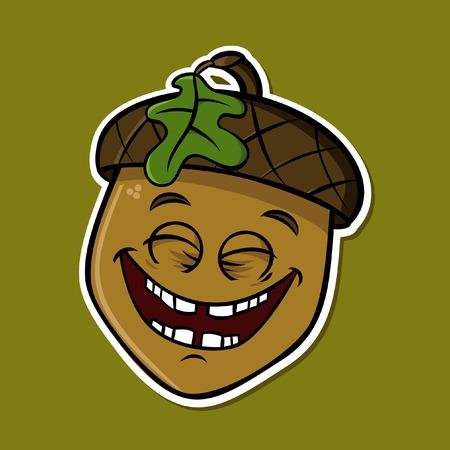Cartoon funny isolated acorn - smilling (vector)