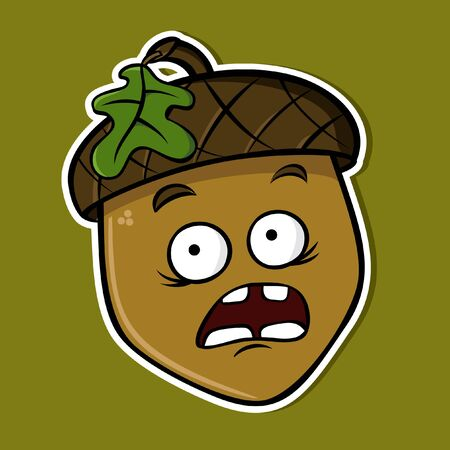 Cartoon funny isolated acorn - scared (vector)