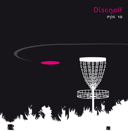 disc golf: Black and white design of disc golf with pink attribute (vector)