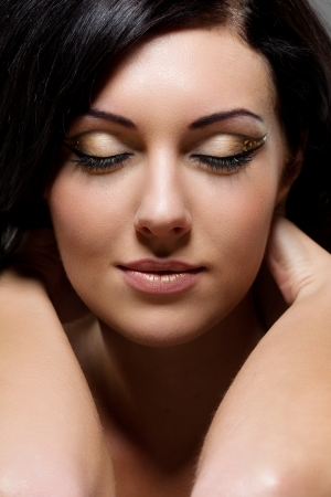 Close-up portrait of beautiful woman photo