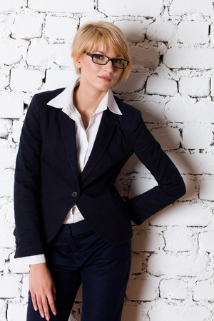Beautiful blonde young businesswoman photo