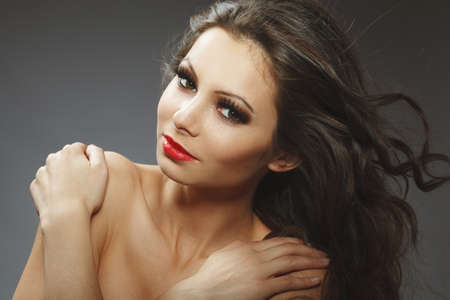beauty portrait of young brunette woman photo