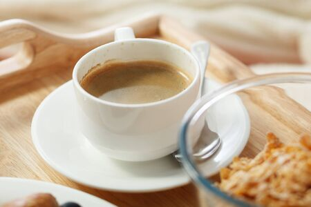 sumptuous: Cup of coffee on wooden tray. Espresso Stock Photo