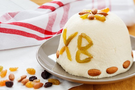 paskha: Curd Paskha, Traditional Russian Orthodox Easter Dessert, Rustic Style