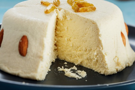 paskha: Close-up view of cutted curd paskha Stock Photo
