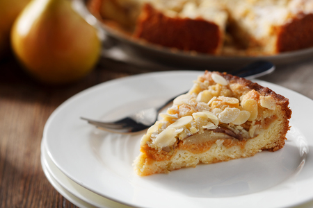pumpkin pie: Close-up view of slice of pumpkin and pear pie. Rustic style. Stock Image Stock Photo