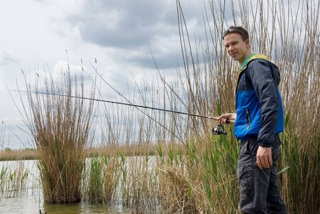 man fishing: Hombre de pesca  Foto de archivo