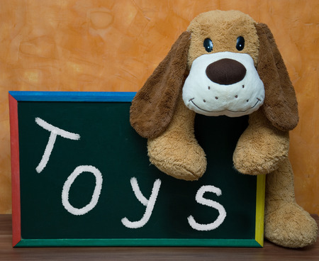 Plush toys with school blackboard