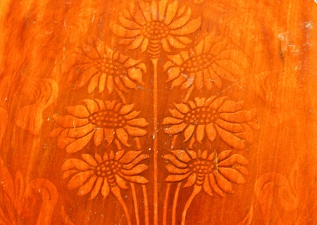 Flower image on the wood chair