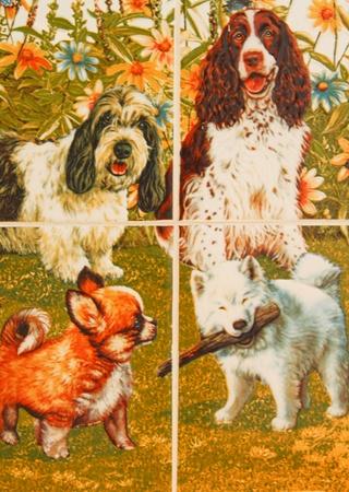 dogs image in ceramic tile