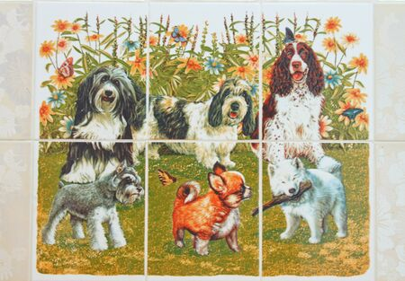 Dogs painting ceramic tile