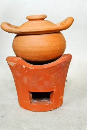 handmade dirt pot and stove photo