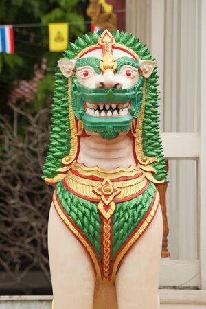 green lion sculpture Stock Photo