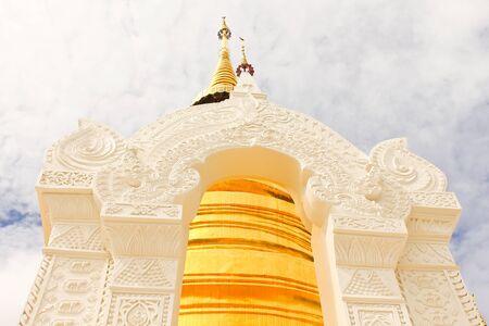White entrance at pagoda Stock Photo