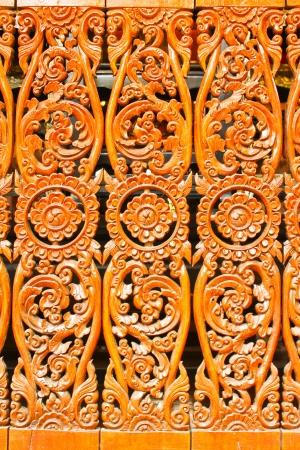 Thai wood pattern in temple