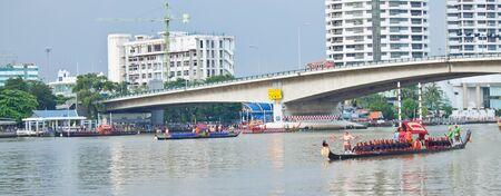 Thai Royal Barge Procession and bridge