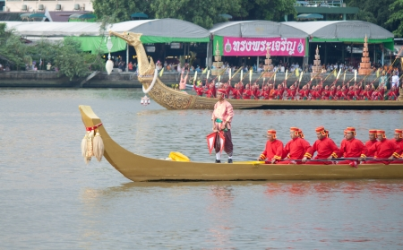 Man with Thai dressing in The Royal Barge Procession