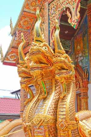 Nagas at entrance of church in Thai temple