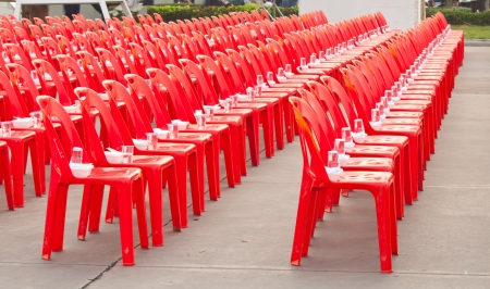 red chairs for sitting Stock Photo