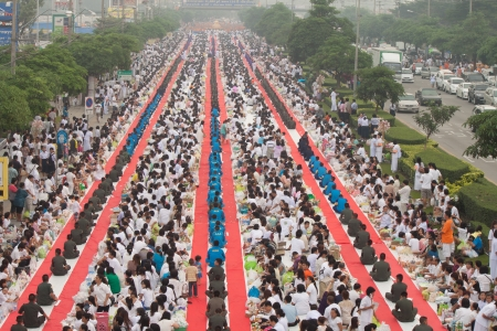 Buddhists in row at stree
