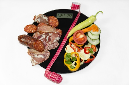 On the digital body scales is sorted dried meat on one half and the vegetables on the other second half. Two halves are separated by the measuring meter. The choice is to be on a diet or not. Stock Photo