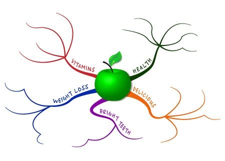 mindmap: Apple en el mapa mental que representa a los cinco principales razones para comer manzanas Vectores
