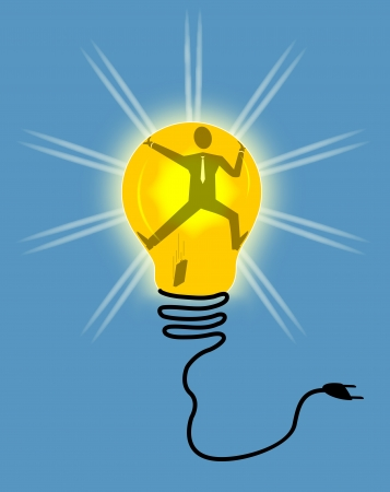 Business man trapped in the bulb. The concept of business ideas