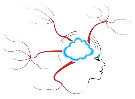 Abstracte tekening van een menselijk hoofd, terwijl het denken